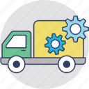 delivery settings, shipping, shipping services, truck with cog, vehicle settings icon