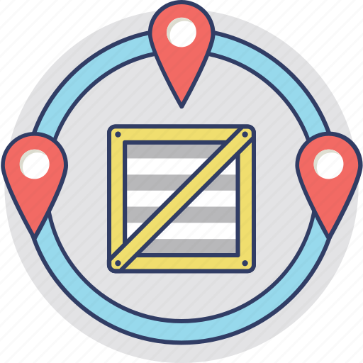 delivery location, delivery map, delivery points, location pointer, logistics points icon
