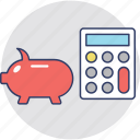 budget, calculation, finance, piggy calculator, piggy with calculator icon