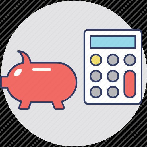 budget, calculation, finance, piggy calculator, piggy with calculator icon