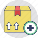add box, add parcel, package, packed box, parcel icon