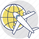 air shipping, global trade, global travel, international flight, world tour icon
