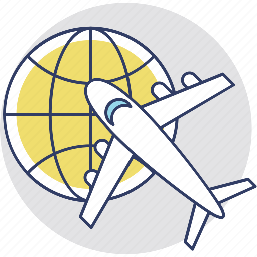 air shipping, global trade, global travel, international flight, world tour icon