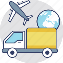air cargo, air freight, air logistics, air shipment, international delivery icon
