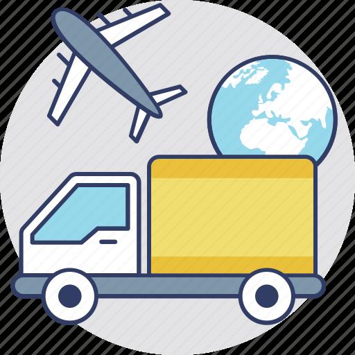 air cargo, air freight, air logistics, air shipment, international delivery icon