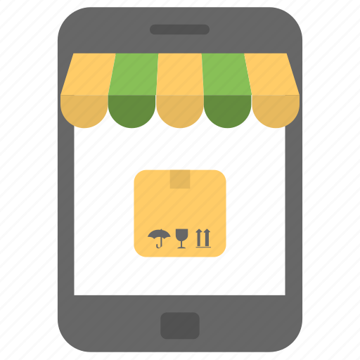 ecommerce, mcommerce, mobile commerce, online delivery concept, online shopping icon