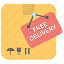 cargo services, ecommerce, free delivery package, free shipping, shipping box icon