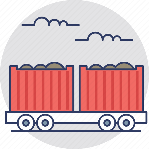 cargo train, freight train, railway transport, railway wagon icon