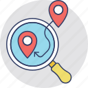 find location, gps magnifier, gps tracking, location research, location tracking icon