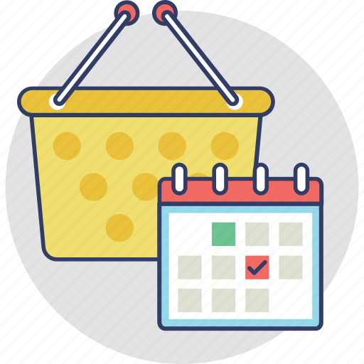 datetime, shopping plan, shopping schedule, shopping time, timetable icon