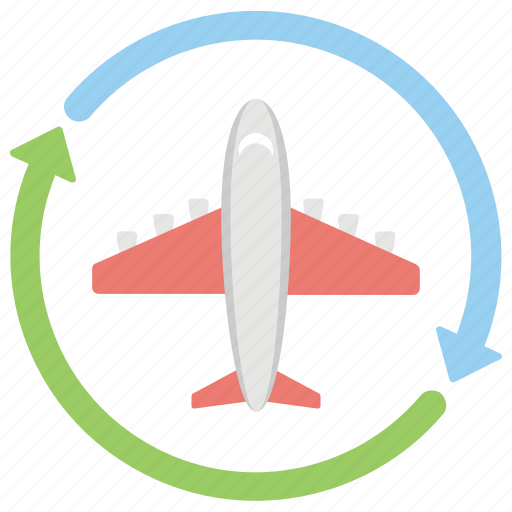 air traveling, airplane circular arrows, airplane inside arrows, flight, flight circle plane icon