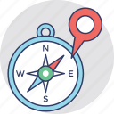 cardinal direction, compass, directional tool, navigation star, navigator icon