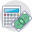 budget, calculation, cost, expenditure, money icon