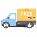 cargo services, free delivery, free shipping, free shipping van, shipping support icon