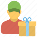 gift courier, gift delivery, gift delivery man, gift delivery service, gift parcel icon