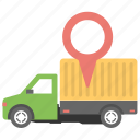 cargo location, delivery location, delivery service, gps tracking, search delivery location icon