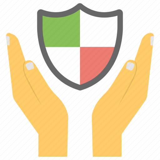 care, guard, hands offering a shield, protection, shield hands icon