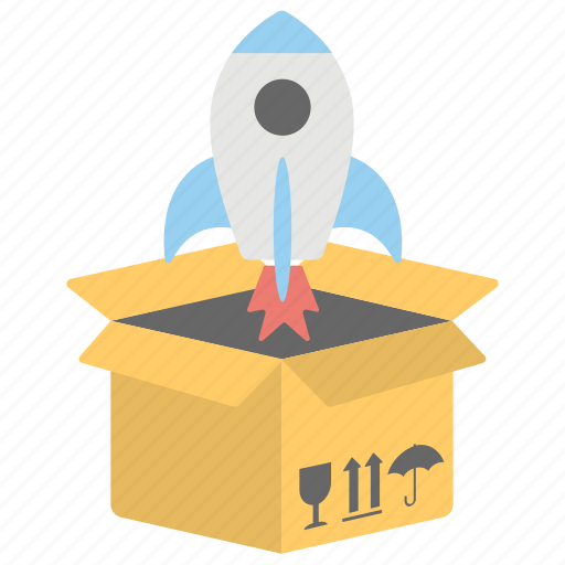fast delivery package, fast delivery rocket, rocket delivery, speedy delivery, urgent shipment icon