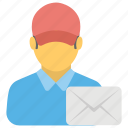 letter carrier, mail carrier, mailman, postboy, postman icon