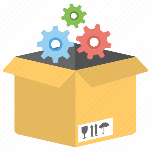 gears delivery box, industrial logistics, mass production, shipping management, shipping services icon