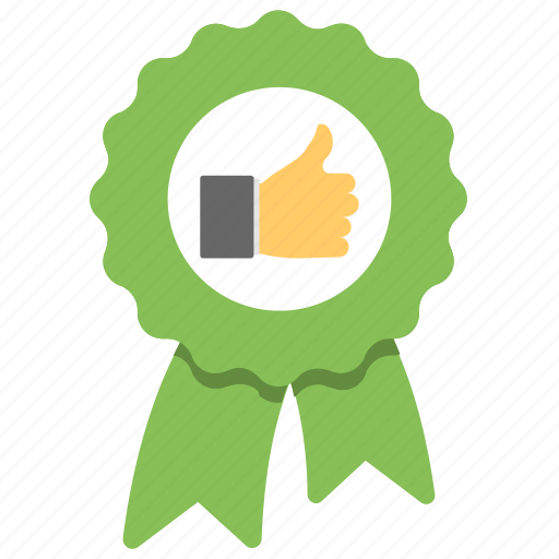 badge with thumb up, best choice, feedback, quality badge, rating icon