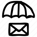 email, envelope, letter, mail, protection, safe, umbrella icon