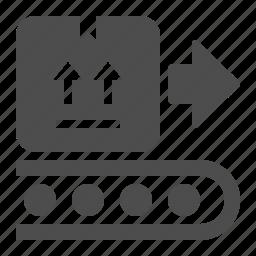 box, conveyor belt, crate, delivery, logistics, transportation, warehouse icon
