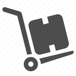 box, crate, delivery, hand truck, logistics, shipping icon