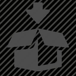 add, arrow, box, crate, logistics icon