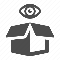 box, crate, eye, inspect icon