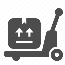 box, crate, delivery, pallet truck, shipping, transportation, warehouse icon