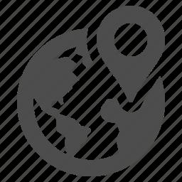 address, earth, globe, gps, location, marker icon