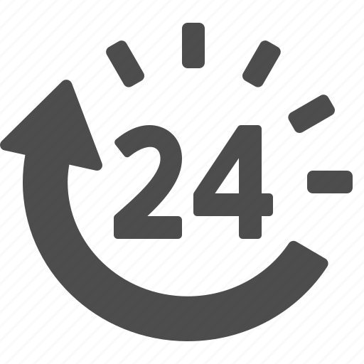 24, 24/7, around the clock, clock, customer support, logistics icon