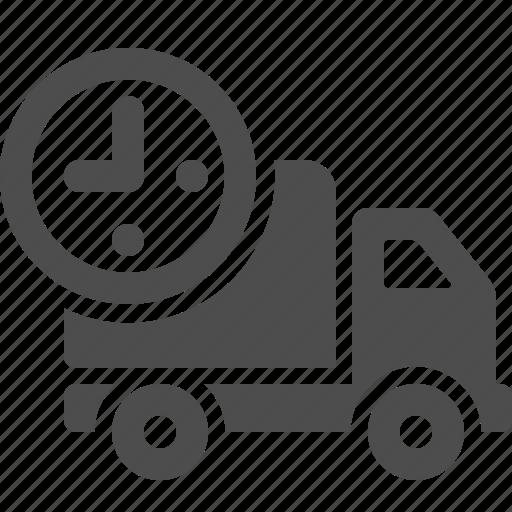 clock, deadline, delivery, transportation, truck icon