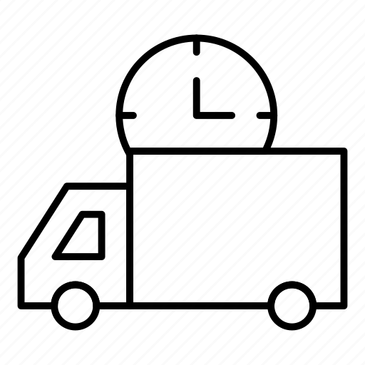 clock, delivery, schedule, time, transport, van, vehicle icon