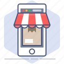 application, logistics, mobile, packet, shipping, shop, shopping icon