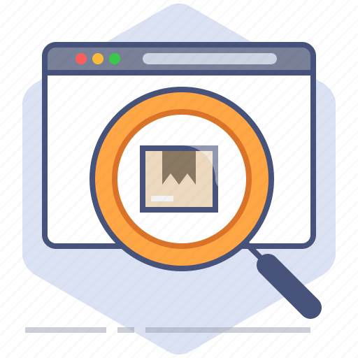 delivery, logistics, magnifier, packet, search, shipping, tracking icon