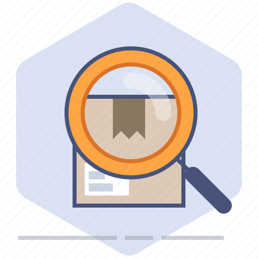 Delivery, lens, logistics, magnifier, packet, search, shipping icon - Download on Iconfinder