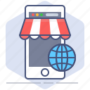 logistics, mobile, phone, shipping, shop, shopping, worldwide icon