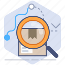 delivery, location, logistics, magnifier, packet, search, tracking icon