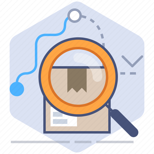 Delivery, location, logistics, magnifier, packet, search, tracking icon - Download on Iconfinder
