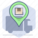 courier, delivery, location, logistics, package, pin, shipping icon