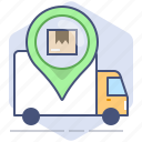 car, courier, delivery, location, logistics, pin, tracking icon