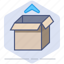 box, delivery, logistics, open, package, packet, unpacking icon