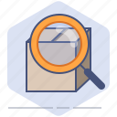 box, delivery, lens, logistics, magnifier, packet, search icon
