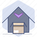 close, delivery, house, logistics, packet, return icon