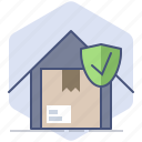 delivery, guard, house, logistics, packet, safe, schield icon