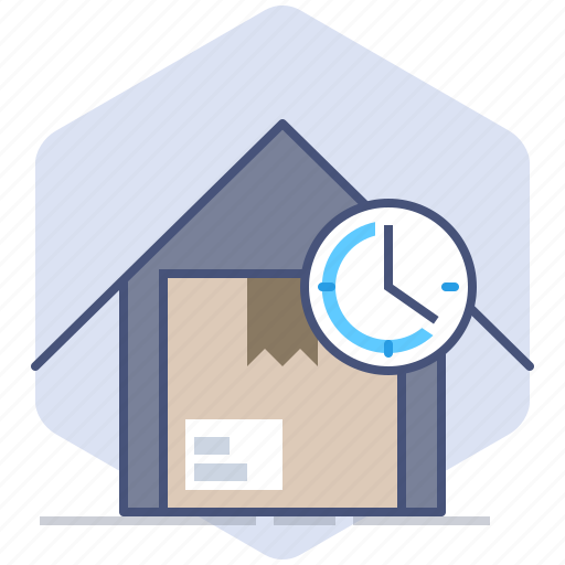 Clock, delivery, house, logistics, packet, speed, time icon - Download on Iconfinder