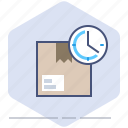 clock, delivery, logistics, packet, ppackage, speed, time icon
