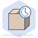 clock, delivery, logistics, package, packet, speed, time icon